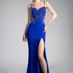 Leg Cut Sleeveless Long Prom Royal Dress CDJS0403
